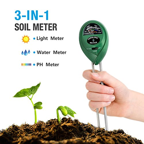 Funyn Soil pH Meter, Light and PH Acidity Tester, 3-in-1 Soil Tester Moisture Meter, Plant Care Helper, Plant Soil Tester for Garden, Lawn, Farm, Indoor & Outdoor (No Battery Needed)