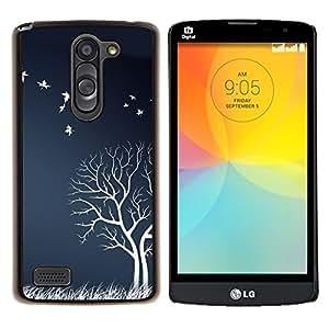 """Be-Star Único Patrón Plástico Duro Fundas Cover Cubre Hard Case Cover Para LG L Prime / L Prime Dual Chip D337 ( Blanco árbol Aves Campo Naturaleza ilustraciones otoño"""" )"""