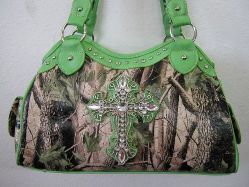 Lime Green Camo Bling Cross Purse (Green Lime Purse Camo)