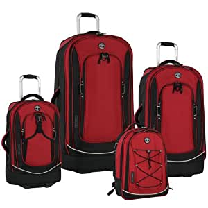 Timberland Claremont Four-Piece Luggage Set, Plus, Red/Black, One Size