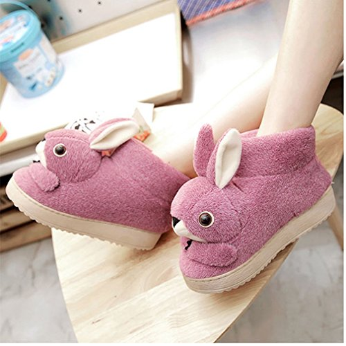 Cartoon GIY Bootie Slippers Slippers slip Cozy House Cute Slipper Purple Anti Winter Womens Rabbit Plush Indoor 4awaBtqx