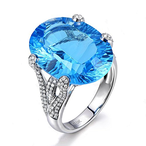 Claddagh Wedding Accessories (Cubic Zirconia Rings Oval Cut Blue Crystal CZ Band Wedding Engagement Accessories Copper Ring Size 8)