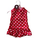 WATFOON Cotton Dog Dress for Puppy and Small dogs,Bling Bow-Knot Cute Dots Princess Dress for Girl Dogs with Free Apparel Hanger (M)