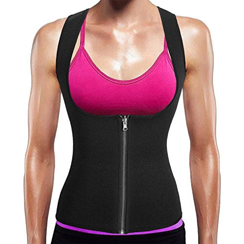 BURUNST Waist Trainer Vest for Women - Neoprene Sauna Sweat Body Shaper with Zipper for Weight Loss - Slimming Waist Tummy Control Corset Tank Top Shirt for Sport Workout Gym ()