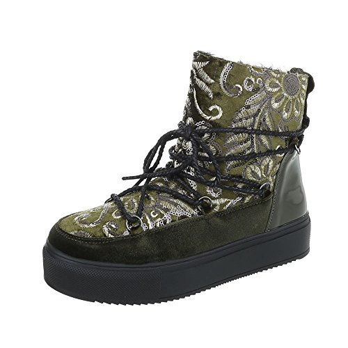 Women's Boots Flat Lace-Up Ankle Boots at Ital-Design Green H-1-1 sYng2aEJ