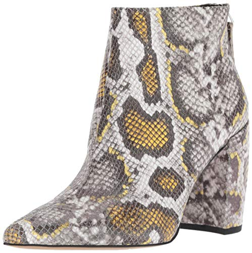 Kenneth Cole New York Women's Alora Pointy Toe Ankle Bootie Boot, Yellow Snake Print, 9.5 M US