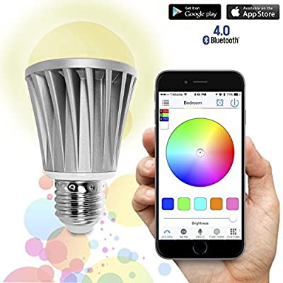 Flux Bluetooth Smart LED Light Bulb - Smartphone Controlled Dimmable Multicolored Color Changing Lights - Works with iPhone, iPad, Apple Watch, Android Phone and Tablet by Flux