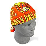 Orange Yellow Maltese Iron Gross Doo Rag Sweatband Headwrap Skull Biker Durag