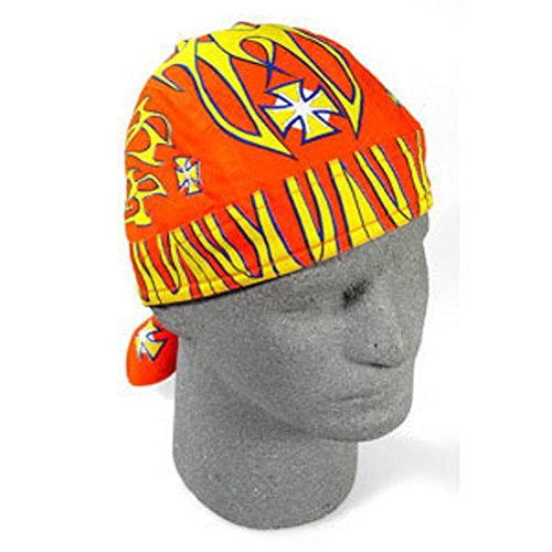 Orange Yellow Maltese Iron Gross Doo Rag Sweatband Headwrap Skull Biker Durag by ZIZI SPORTS SUPPLY