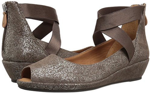 51gbiNh-0yL Gentle Souls Women's Lisa Low Wedge Peep Toe Elastic Strap Pump, Cocoa, 7.5 M US