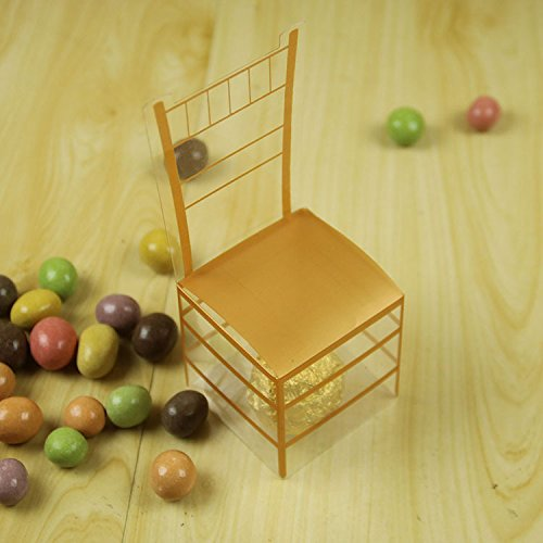 B&S FEEL Miniature PVC Gold Chair Candy Favor Boxes for Wedding Party Supplies, Pack of 50