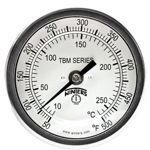 1//2 NPT Bottom Mount Connection 2-7//16 Stem 30-250 F//C Range 2-7//16 Stem 1//2 NPT Bottom Mount Connection 3-1//2 Dial Display Winters TBT165 Dual Scale Steel HVAC Bi-Metal Thermometer 3-1//2 Dial Display