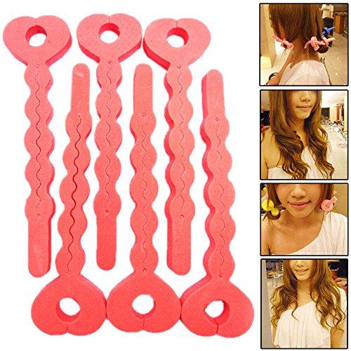 Hotenergy 6 PCS Magic Sponge Hair Soft Curler Roller Strip Heatless Tools
