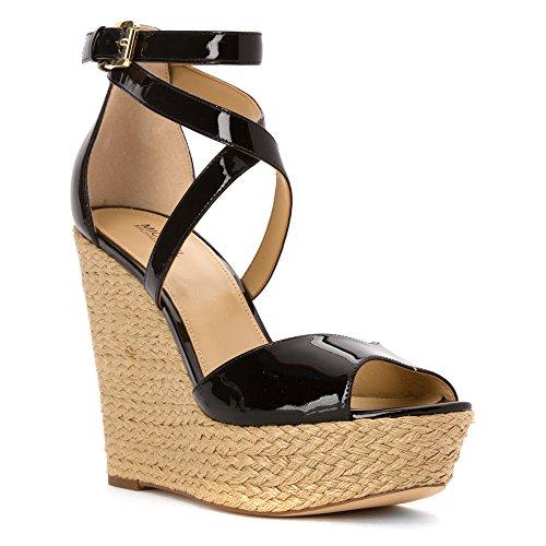 MICHAEL Michael Kors Women's Gabriella Platform Wedge Sandals Shoes (8, Black)