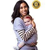 Baby Wrap Carrier | Soft Baby Carrier | Baby Sling Carrier | Postpartum Belt | Nursing Cover | Best Baby Shower Gift (Grey)