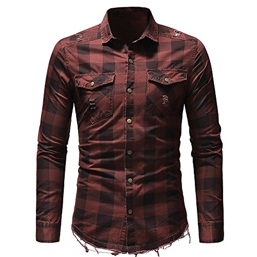 a83a266e Men's Long Sleeve Oxford Casual Shirt, Slim Fit Button Plaid Shirt with  Pocket Long-