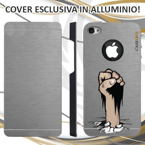 CUSTODIA COVER CASE PUGNO TERRA PER IPHONE 4S ALLUMINIO TRASPARENTE