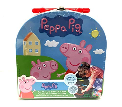 Peppa Pig On-The-Go SideWalk Chalk in Tin Contianer for easy Storage Bonus Chalkboard on the back of Tin
