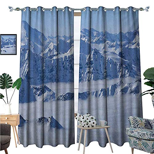 (BlountDecor Mountain Thermal Insulating Blackout Curtain Fantasy Dream Land Over The Austrian Alps Summit Climate Skiing Snowfall Fir Theme Patterned Drape for Glass Door W84 x L96 White)