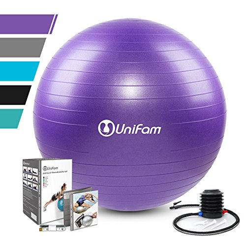 Exercise Stability Ball Chair with Hand Pump Use For CrossFit, Yoga, Balance & Core Strength Training, Non-Slip & Anti-Burst Extra Thick Fitness Ball(Purple&75CM)