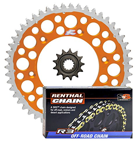 Renthal Grooved Front & Twinring Rear Sprockets & R3 O-Ring Chain Kit - 13/50 ORANGE - compatible with Husaberg, Husqvarna, ()