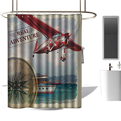 TimBeve Camper Shower Curtain Adventure,Real Adventure Quote with Coastline and a Red Airplane Journey Travel Themed Art,Multicolor,Design Waterproof Fabric Bathroom Shower Curtain 36