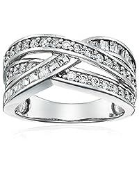 Sterling Silver Swarovski Zirconia Interlocking Band Ring