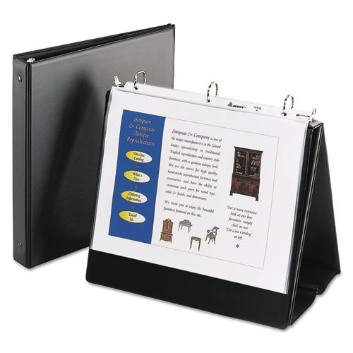 Easel Binder with Round Ring, Black, Sold as 1 Each