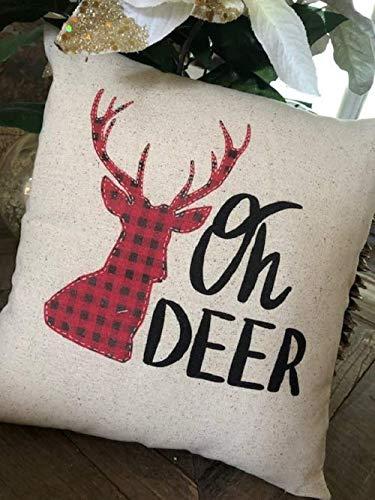 Amazon com: Rustic Oh Deer Pillow Christmas Buffalo Check: Handmade