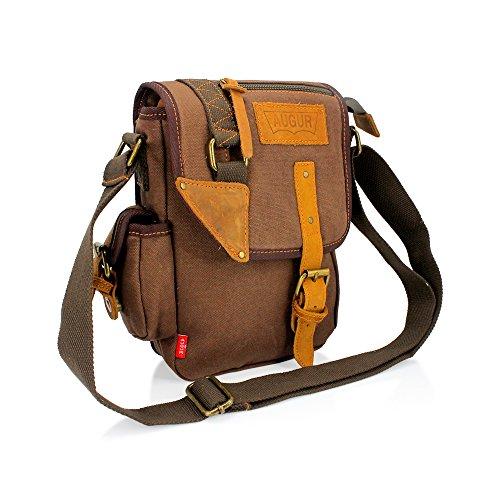 GEARONIC TM Men Women Military Canvas Messenger Shoulder Sling School Belt Crossbody Travel Hiking Bag Satchel Coffee