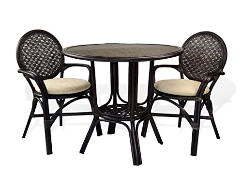 3 Pc Denver Rattan Wicker Dining Set Round Table w/Wicker+2 Arm Chairs. Dark Brown Color