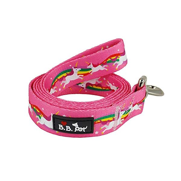 Bestbuddy Pet Unicorns and Rainbows Hot Pink Fairytale Durable Nylon Designer Fashion Dog Leash Trendy Stylish… 3