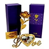 VintFlea 24K Certified Gold Plated Rose With Purple Gift Box & Beautiful Golden Love Photo Frame Flower Stand For Loved Ones Valentine Anniversary Gift