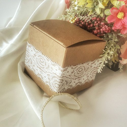 10 Pack of Square Kraft Boxes With Rose Motif Lace Wrap