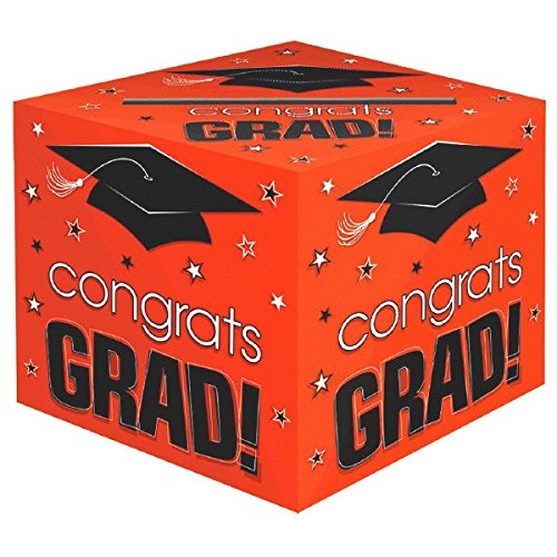 "Amscan School Colors Graduation Party Congrats Grad! Card Box Holder, Orange/Black/White, 12"" x 12"" x 12"""