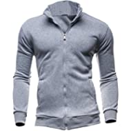 Hattfart Men Fall Winter Casual Sports Cardigan Zipper Sweatshirt Jacket Coat