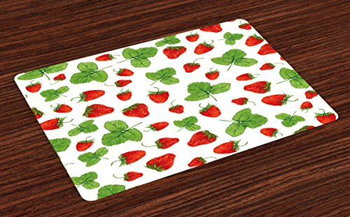 Lunarable Nature Place Mats Set of 4, Strawberries with Green Leaves Hand Drawn Fresh Summer Fruit Illustration, Washable Fabric Placemats for Dining Room Kitchen Table Decoration, Red Green and White