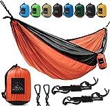 Camping Hammock - Double Hammock with Hammock Straps Indoor Outdoor Best Quality Hammocks 500 lbs Portable Hanging Nylon Hammock Kit 118'' 78'' Full Package for Men Women Orange - Black