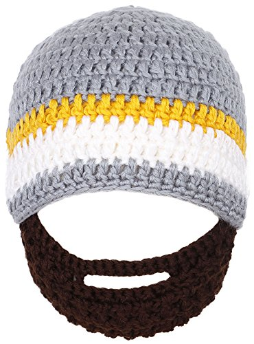 Simplicity Toddler's Winter Warm Knit Bearded Face Mask Beanie, Gery -