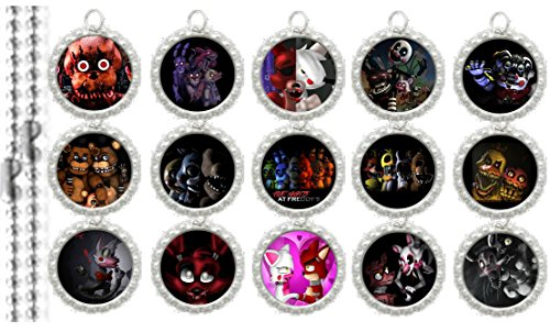15 Five Nights at Freddy's Silver Bottle Cap Pendant Necklaces Set 1 (Cap Set Pendants Bottle)