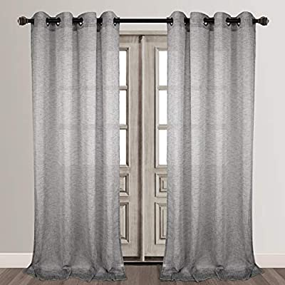 grey linen curtains living room voilybird vitoria grey linen textured semi sheer curtains for bedroom grommet 84 inches long w54 l84 panels grey amazoncom