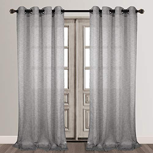 Semi Sheer Curtains For Kitchen Curtain Linen Textured: Grey Blue Sheer Curtains For Kitchen