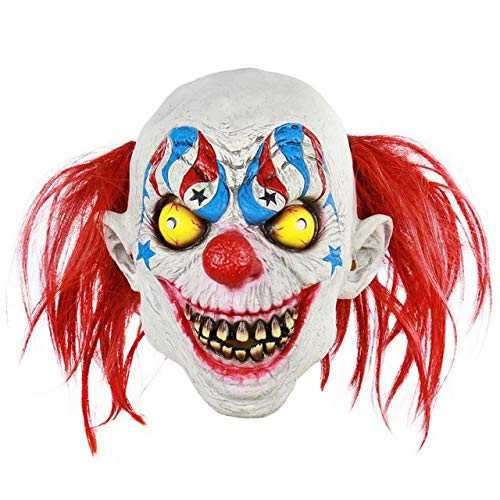 Evil Satanic Demonic Scary Clown Mask Horror Halloween One Size Evil Red Hair American Evil Clown Mask
