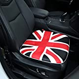 Car Seat Cushion,Comfort PU Leather Car Seat Pad Union Jack Seat Cover Pad Mat with 100% Polyester Fiber Filling for Auto Supplies Office Chair Home Use-1PC