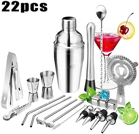 OHOME 22Pcs/Set Stainless Steel Cocktail Shaker Set Drink Strainer Bottle Opener Maker Mixer Spoon Measure Cup Bar Beginner Tool Kit