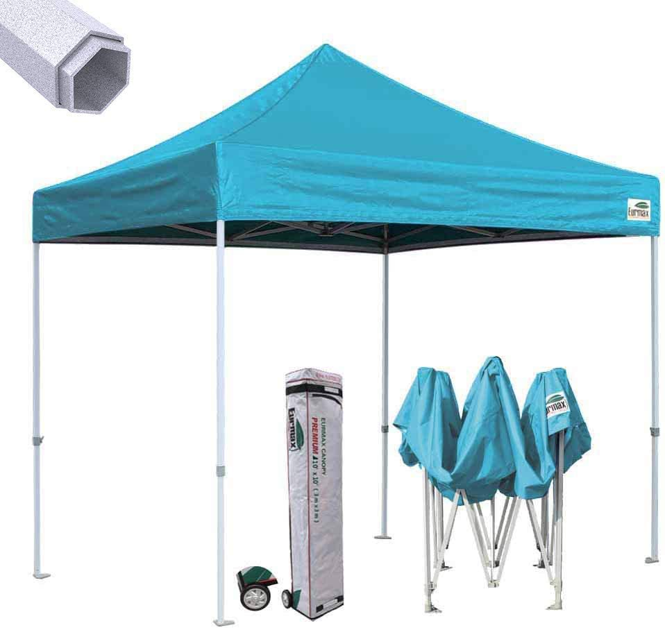 Eurmax Premium 10 x10 Ez Pop-up Canopy Tent Commercial Instant Canopies Shelter with Heavy Duty Wheeled Carry Bag Turquoise