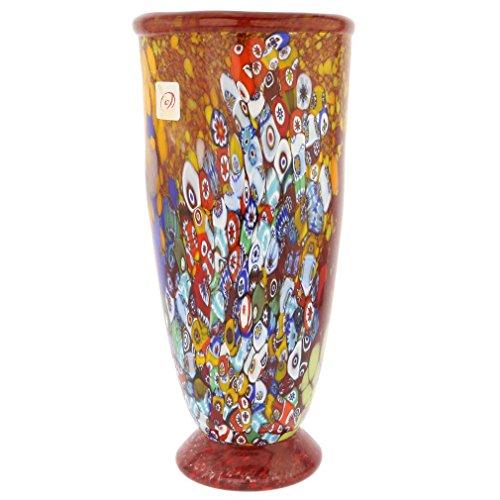 - GlassOfVenice Murano Glass Millefiori Vase - Ruby Red