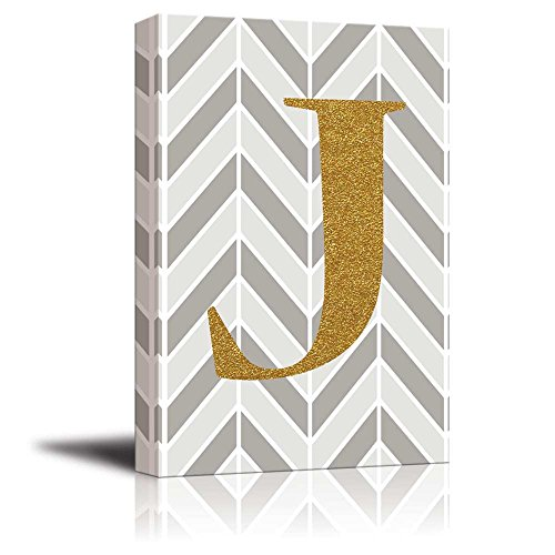 The Letter J in Gold Leaf Effect on Geometric Background Hip Young Art Decor