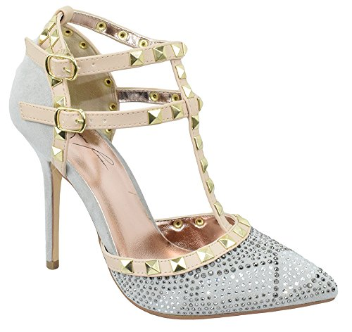Wild Diva Jenni Rivera Women Stiletto Heels Pointy Toe Studded Pumps Rhinestone Bling ADORA-64G Silver Gray 6.5