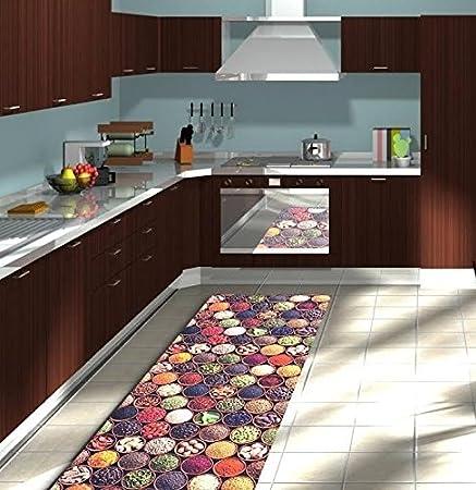 Alfombra de cocina en diferentes medidas, Made in Italy, con base antideslizante, medidas en cm: 50 x 100, 50 x 150, 50 x 200, 50 x 240, 50 x 280, 50 x 320: Amazon.es: Hogar